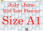 Pastel Blue A1 Landscape planner July -June Wall Calendar Choice of Years (1120)