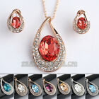 A1-S186 Fashion Party Rhinestone Earrings Necklace Jewelry Set 18KGP Crystal