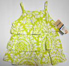NWT: New Carter's Bright Green / Yellow Floral Ruffle Sleeveless Shirt 12 or 18m