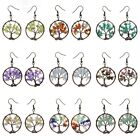 30mm Vintage Style Tree Of Life Natural Gemstone Handmade Earrings 1.2""