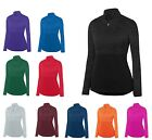 LADIES HEATHER/SOLID, 1/4 ZIP, PULLOVER, DROP TAIL, LONG SLEEVE, WICKING, XS-2XL