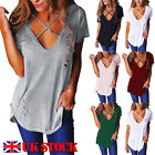 UK New Summer Womens V Neck T-Shirt Short Sleeve Loose Casual Ladies Tops Blouse