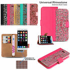 Shiny Diamond Bling Crystal Sparkle Wallet Flip Case Cover For Various Phones