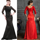 2017 3/4 Sleeve Lace Bridesmaid Ball Gown Evening Party Long Prom Wedding Dress
