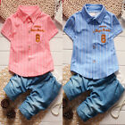 2017 Summer Cotton Gentlemen Type Baby Kids Boys Short Sleeve Shirt Tops + Pants