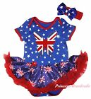 Queen Day Union Jack Butterfly Star Bodysuit Blue UK Flag Girl Baby Dress NB-18M