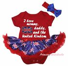 I Love Mommy Daddy Queen's Day Red Bodysuit Blue UK Flag Girl Baby Dress NB-18M