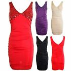 Ladies Sequin Beaded Padded Bra Top Sexy Short Mini Party Women's Dress 8-14