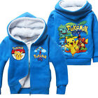 New Pokemon zipped  hooded jacket coat warm Lamb Fur size2.3.4.5.6.7.8 yrs