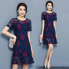 womens Elegant office work lace print Floral Casual Mermaid Cocktail party dress