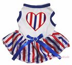 Heart Queen's Day 4th July White Cotton Top RWB Striped Pet Dog Puppy Cat Dress