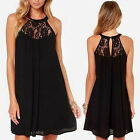 Fashion Women Solid Color Lace Floral Chiffon Summer Casual Mini Dress Plus Size
