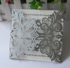 Laser Cut Pearl SIlver Luxury Damask Wedding Invitation cards,Party Invites