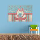 PERSONALISED BABY ELEPHANT HAPPY BIRTHDAY PARTY PHOTO BANNER BLUE PINK