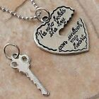 """""""He who holds the key can unlock my heart"""" Jigsaw Romance silver pewter Pendant"""