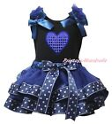 4th July Bling Heart Black Top Navy Blue Sailor Satin Trim Skirt Girl Set NB-8Y