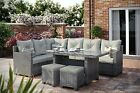 OUTDOOR RATTAN CORNER L SHAPE SOFA AND DINING TABLE PATIO SET ALUMINIUM FRAME