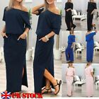 UK New Summer Womens One Shoulder Casual Loose Split Long Maxi Beach Long Dress