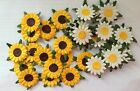 25 yellow white daisy flower heads card making scrapbook craft embellishments