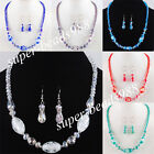 Free shipping Glass Crystal Faceted Beads Necklace Earrings Jewelry Sets SBM078