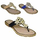 New Ladies Womens Soft Padded Slip On Diamante Snow Flake Toe Post Flat Sandal