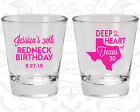 30th Birthday Favor Shot Glasses Personalized Glass (20072) Redneck, Texas