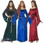 Ladies Medieval Maid Fancy Dress Costume Marian Outfit Tudor Juliet Renaissance