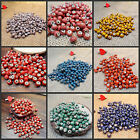 6mm 50pcs Flower Glaze Ceramics Spacer Beads for DIY Jewelry Accessories Design