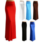 US Women's Summer Solid High Elastic Waist Foldover Long Jersey Maxi Skirt Dress
