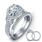 925 Sterling Silver Cz Halo Engagement Wedding Rings Set Women Size 6-8 Ss2207