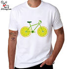 Lemon Bikes Print Short Sleeve Cotton Fashion Men T-shirt Mens Summer White
