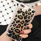 Luxury Leopard Bling Flowing Liquid Glitter Back Phone Case For iPhone 7 7Plus 6