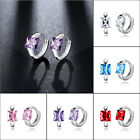 white gold square hoop earrings - Fashion Woman White Gold Filled Square Pink Red Purple CZ Huggies Hoop Earrings