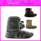 NEW LADIES DUNLOP FURRY SLIP ON SOFT FLUFFY BOOTIES SLIPPERS SIZES UK 3-8