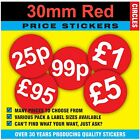 Great Quality - 30mm Bright Red Price Point Stickers / Sticky Labels