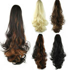 Womens Fashion Long Cury Wavy Ponytail Hairpiece Hair Extension Black/Brown Hair