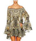 new CAMILLA FRANKS SILK SWAROVSKI SPIRIT ANIMAL A LINE FRILL DRESS L