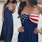 Stretchy Women Boho US Flag Stars Print Dress Tube Strapless Beach Maxi Dresses