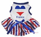 Bastille Day France Heart White Top RWB Striped Skirt Pet Dog Puppy Cat Dress