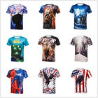 New Men 3D Leopard Digital Printed T-shirt Stylish Tops Fashion Tee Short Sleeve