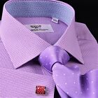 Mini Pink Gingham Check Formal Business Dress Shirt Easy Iron Soft Purple Plaids