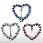 SEXY 316L SURGICAL STEEL HEART GEM PAVED TOP DOWN NAVEL BELLY RING W/CLEAR CZ'S