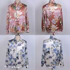Mens 16MM 100% Silk Floral Print Dress Shirts Long Sleeve Button Down Collar