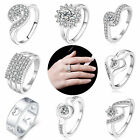 Silver Plated Flower Love Diamante Rings Womens Charm Wedding Engagement Jewelry