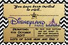 Personalised Boy/Girl Ticket Style Disneyland Paris Invites inc Envelopes A8