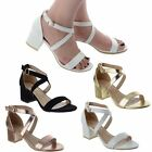 WOMENS LOW MID BLOCK HEEL OPEN PEEP TOE LADIES ANKLE STRAP PARTY SANDALS SIZE