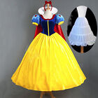 Adult Snow White Fairytale Long Fancy Dress Up Costume Storybook Princess Set