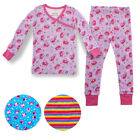 Kids Two-Piece Organic Cotton Pajamas Little Girls Toddler PJs Pants Shirt Child