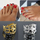US-Women Lady Elegant Adjustable Antique Plated Silver Metal Toe Ring Foot Beach
