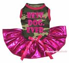 Best Dog Ever Camouflage Camo Top Bling Hot Pink Tutu Pet Dog Puppy Cat Dress